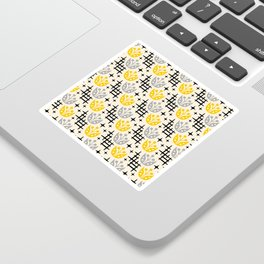Mid Century Modern Space Flower Pattern Gray and Yellow Sticker