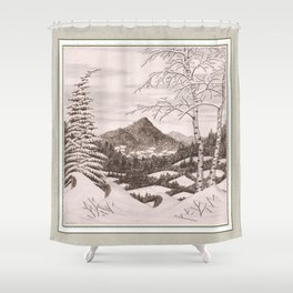 NORTHEAST SNOWFALL VINTAGE PEN AND PENCIL DRAWING Shower Curtain