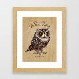 Otus scops on wood Framed Art Print