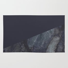 Marble Geometric Navy Blue Indigo Rug