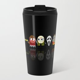Pacman with Horror Movies Heroes Ghosts Travel Mug