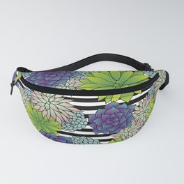 Succulents on Black and White Stripes Fanny Pack