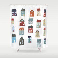 Little Houses Shower Curtain