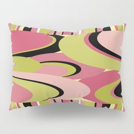 Contemporary Circles and Stripes Pattern in Hot Pink Neon Green and Black Pillow Sham