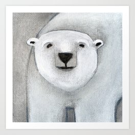 Grey Day Polar Bear Art Print