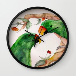 Watercolor Eclectus Parrot Illustration Wall Clock