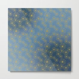 Blue and Yellow Floral Metal Print