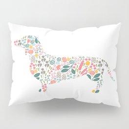 Dachshund Floral Watercolor Art Pillow Sham
