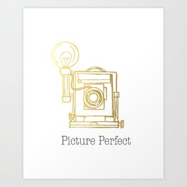 Gold Vintage Camera Picture Perfect  Art Print