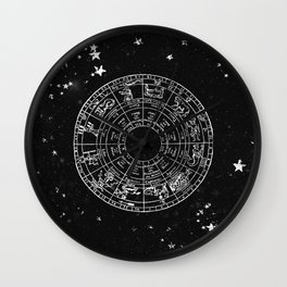 Black and White Vintage Star Map Wall Clock