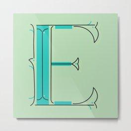 Drop Cap E - decorative letter - typography - monogram - capital Metal Print
