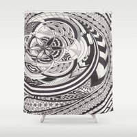 fibonacci Shower Curtains featuring Fibonacci Effect by SRC Creations