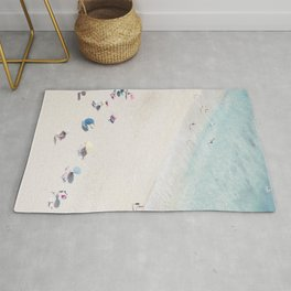 Beach Love 1 (part of a diptych) - Aerial Beach and Ocean photography by Ingrid Beddoes Rug