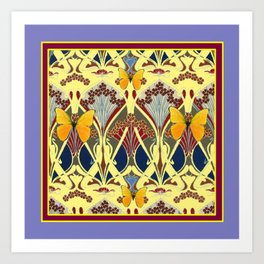 Decorative Yellow Art Nouveau Butterfly Maroon Designs Art Print