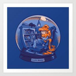 I Love Books and Cats Art Print