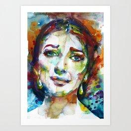 MARIA CALLAS - watercolor portrait.9 Art Print