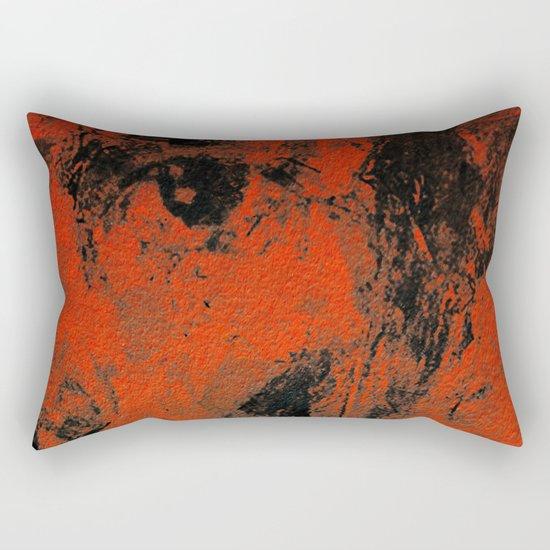 Black and Orange Wall Rectangular Pillow