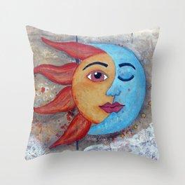 Soluna, Sun and Moon Mixed media Painting Throw Pillow