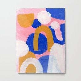 Ejaaz Haniff Colorful Abstract Acrylic Painting Pastel Fun Pastel Colors 'Pink Promenade' Metal Print