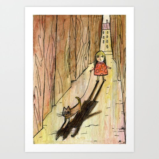 walking the cat Art Print