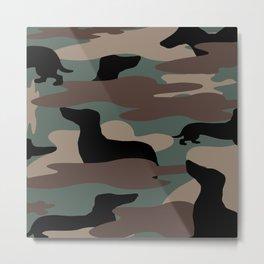 Camo Weiner Dogg Metal Print