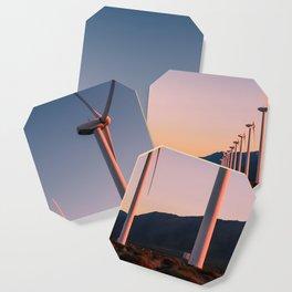 California Desert Windmills at Sunset with Mountain Vistas Coaster