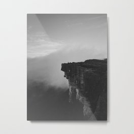The Cliff (Black and White) Metal Print