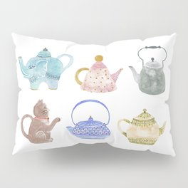 Waterclor Teapot Collection Pillow Sham
