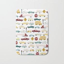 Beep Beep! Cars and Trucks Traffic Pattern Bath Mat