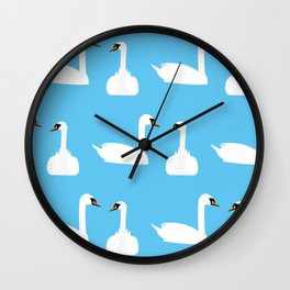 Swans at the Round Pond, Kensington Gardens | London, England, UK Wall Clock