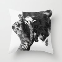 bear Throw Pillows featuring Bear #2 by Jenny Liz Rome