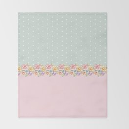 Vintage green pastel pink yellow floral polka dots Throw Blanket