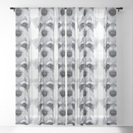 Schnauzer Grey&white, Dog illustration original painting print Sheer Curtain