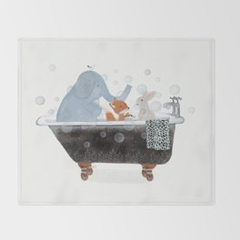 little bath time Throw Blanket