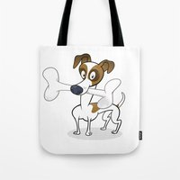 jack russell Tote Bags featuring Jack Russell by drawgood