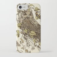 leaves iPhone & iPod Cases featuring Great Horned Owl by Teagan White