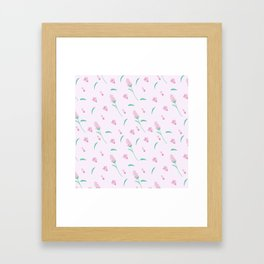 Modern blush pink coral green abstract floral illustration Framed Art Print