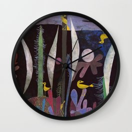 Landscape With Yellow Birds Paul Klee Wall Clock