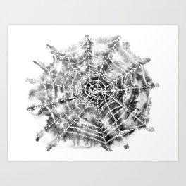 Watercolor Spider Web Halloween Art Art Print