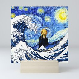 The Great Wave Off Kanagawa Starry Night Scream Mini Art Print