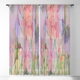 Painterly Hummingbirds And Flowers Sheer Curtain