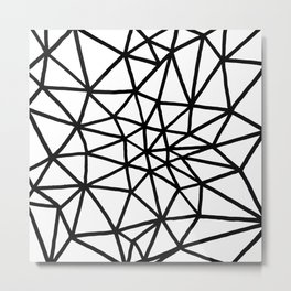 black and white triangle web Metal Print