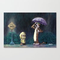 hobbes Canvas Prints featuring My Neighbor Hobbes by Josh Mauser