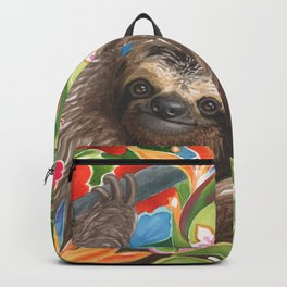 Sloth among exotic flowers Backpack