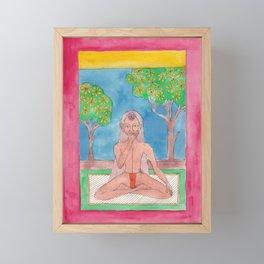 Meditation in nature. Yogi in the garden. Lotus pose Framed Mini Art Print