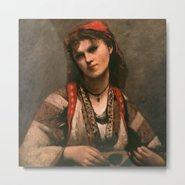 "Jean-Baptiste-Camille ""Gypsy with a Mandolin"" Metal Print"