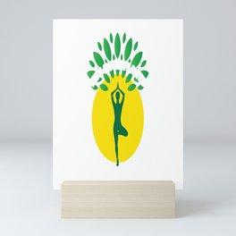 Eat More Plants And Do More Yoga Vegan Quote Tee Shirt Gift   Cute Vegetarian Meditation Tree Men Mini Art Print
