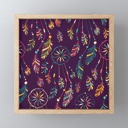 Bohemian Purple Dream Catcher Pattern Framed Mini Art Print