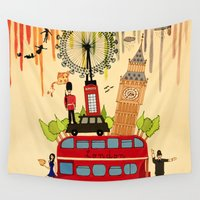 cities Wall Tapestries featuring Rainbow Cities ~ London by Evisa Isabella Rose