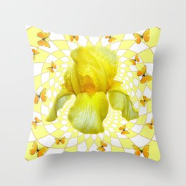 YELLOW BUTTERFLIES & YELLOW IRIS WHITE PATTERN ART Throw Pillow
